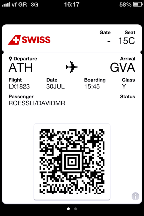 Loaded my mobile boarding pass on Passbook. Αντίο Ελλάδα